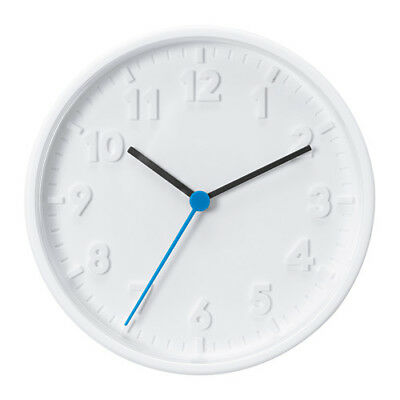 NEW IKEA STOMMA WALL CLOCK White Blue Silent Quartz Movement 20cm Diameter