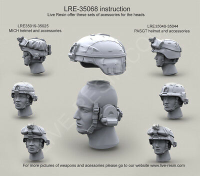 LIVE RESIN,1/35, LRE35068, US Army Modern Heads with ESS Crossbow Goggles