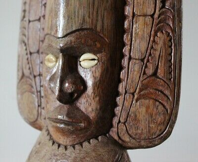 Very Large Hand Carved Island Totem Or Idol With Inlaid Cowrie Shells