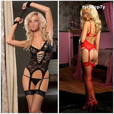 3pcs Set Women's Lace Lingerie Sexy Teddy G String Handcuff Garter Belt