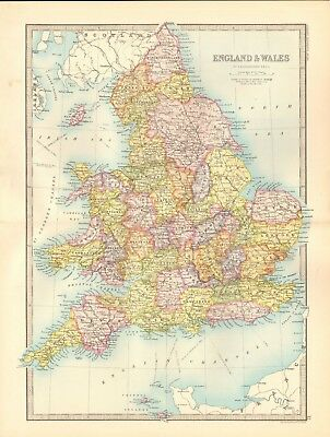 1890 Antique Map - England & Wales
