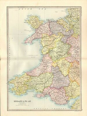 1890 Antique Map - England & Wales, Section 5, Wales