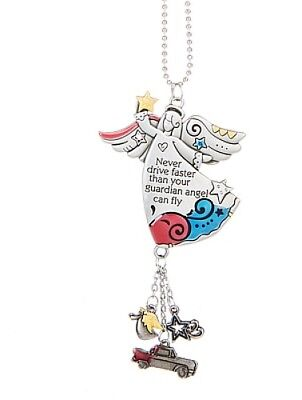 Ganz Never Drive Faster Than Your Guardian Angel Can Fly Rear Mirror Car Charm