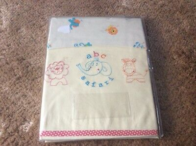 ABC SAFARI cotbed  2 Pk Sheet Flat Embroidered Ptinted Jersey Fitted  Cute BNIP