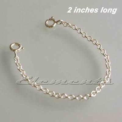 """Solid .925 Sterling Silver Necklace Extender Safety Chain 2"""" Inches FREE POST"""