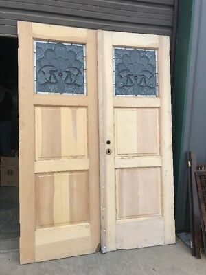 AN 466 pair antique double door entrance stained glass Stripped and 83.5 x 58.5