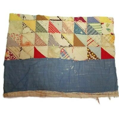 Vtg Feedsack Quilt Hand Stitched Tattered Torn Piece 18 x 13 Cutter fs2