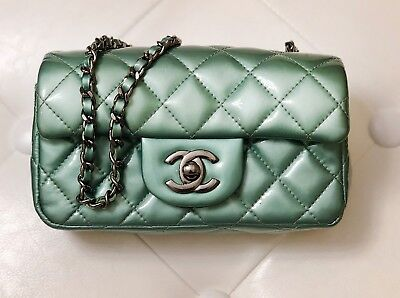 cb718a0c355a Authentic CHANEL Classic Quilted Patent Mini Single Chain Flap Bag in Mint  Color