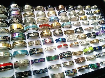 Wholesale 50pcs Mixed style Stainless Steel Rings Men's Women's Fashion jewelry