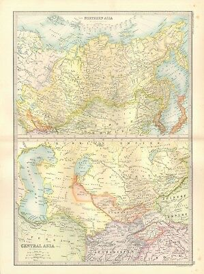 1890 Antique Map - Northern And Central Asia, 2 Maps