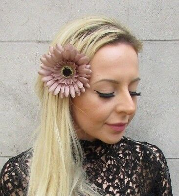 Nude Beige Gerbera Daisy Flower Hair Clip Fascinator Bridesmaid Festival 5800