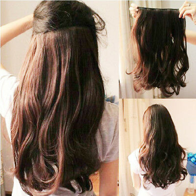 Gorgeous One Piece long curl/curly/wavy Human hair extension clip-on Wig