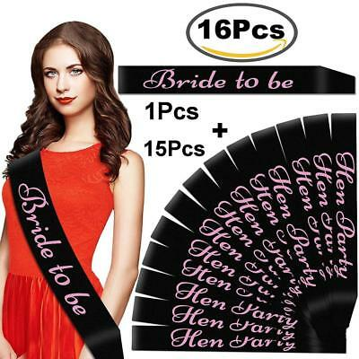 Outee 16 pezzi Nero Sposa Party Sash Fascia e 1 Pezzi Bride to Be Out Night...