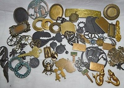 Large Lot OF 58 Solid Brass Embellishment Stampings & Findings Various Finishes
