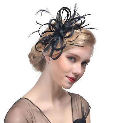 Cappellino Fascinator DONNA RETE PIUMA CAPELLI CLIP MATRIMONIO COCKTAIL PARTY