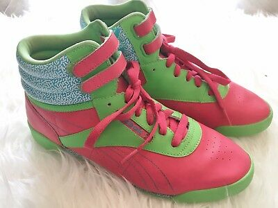 63c844c5a15db Reebok Freestyle Classic Vintage Pink Green Blue High Top Sneakers Size 6