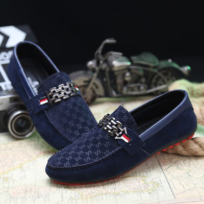 Men's Suede Loafers Shoes Casual Leather Moccasins Flat Driving Slip On Fashion