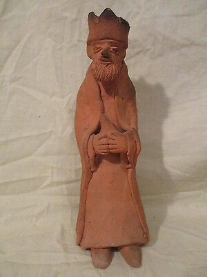 antique/vintage terra cotta clay king statue HEAVY!!