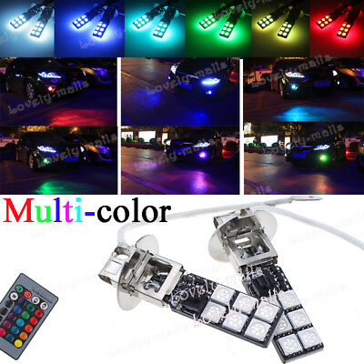 2PCS H3 RGB LED White Blue 3K Fog Lights Driving Bulbs For 01-04 Toyota Corolla