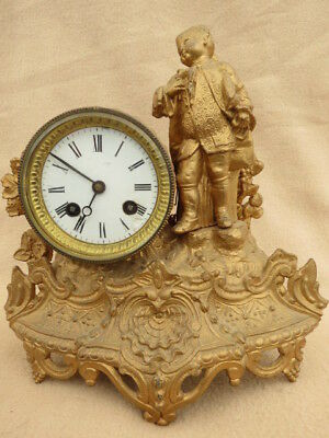 Antique French Gilt Spelter Figural Clock For Spares Repair