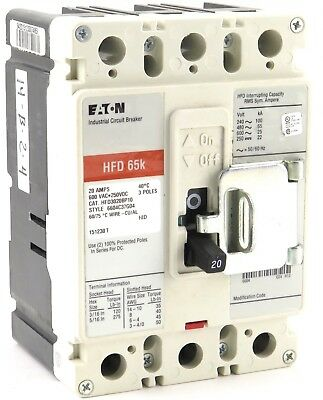Molded Case Circuit Breaker; 20 Amp Cutler Hammer HFD3020BP10 Eaton NEW