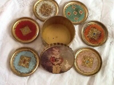 Vintage Italian Tole Set of 6 COASTERS With Storage Box Made In Italy