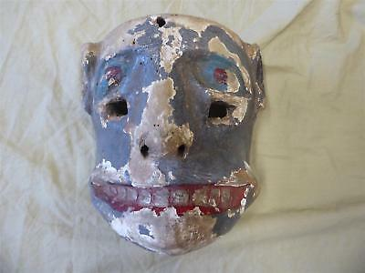 """Antique Hand Carved Wood Mexican Mask (Chimaltitan) 7x7"""", 11 oz Ceremonial Dance"""