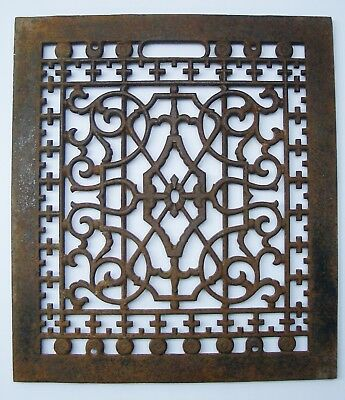 "Vintage Cast Iron Victorian Heat Floor Grate 14"" x 16"" Register"