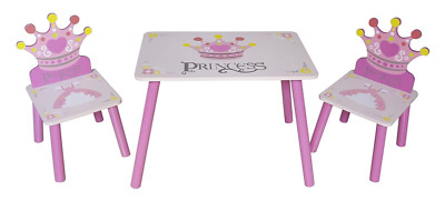 Kiddi Style Childrens Princess Themed Wooden Table and Chair Set , Pink