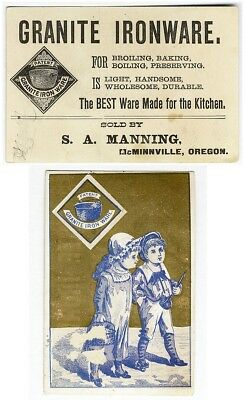 McMinnville Oregon GRANITE IRONWARE Victorian Trade Card 1880's MANNING