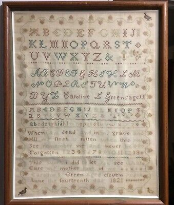 Classic Embroidered Antique American Sampler Dated 1821 Signed Twice 16 x 12