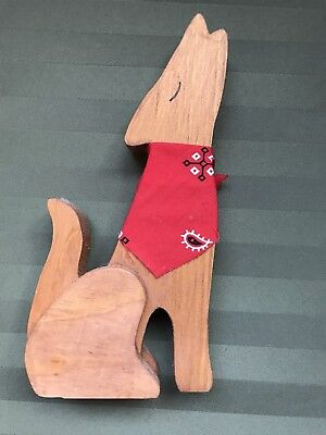 Southwest Style Wooden Howling Coyote - Arizona Desert Decor - w/ Red Bandana