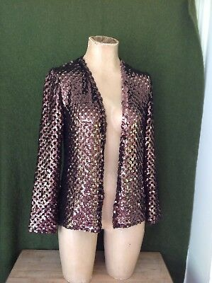 Vintage Saks Fifth Avenue Brown Sequined Open Cardigan, M