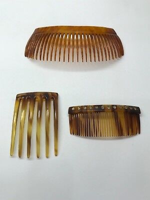 Lot of 3 Antique Vintage Celluloid Faux Tortoise Shell Hair Combs