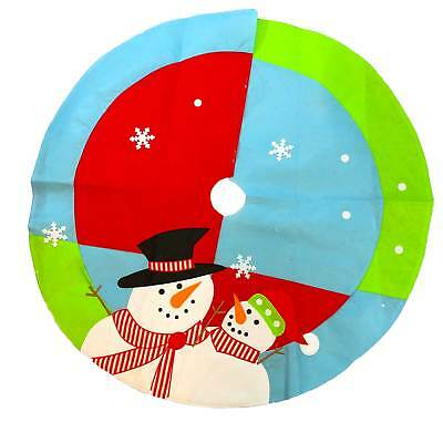 Christmas Tree Skirt Decoration Snowman 100cm Round Cover Festive Base Stand Rug