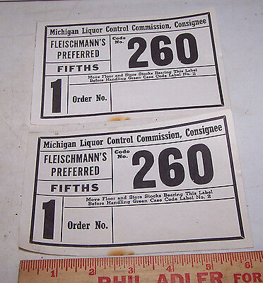 Vintage FLEISCHMANN'S Preferred Fifth Label MICHIGAN Liquor Control Commission