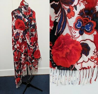 Vintage Wool Blend Scarf Wrap Shawl Floral Paisley Red Blue Green Ivory