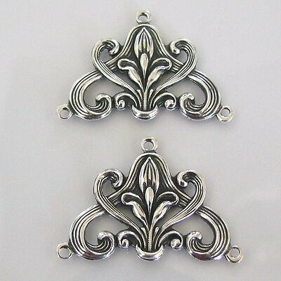 2 Antiqued Silver Art Nouveau Style Connectors , Made in the USA, AS26