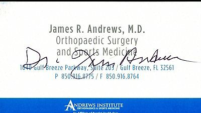 Dr. James Andrews Sports Doctor Signed Business Card Authentic Autograph Auto