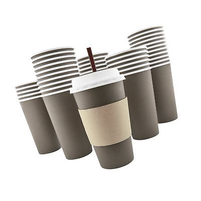 100 Pack - 16 Oz [8, 12, 20] Disposable Hot Paper Coffee Cups, Lids, Sleeves,...