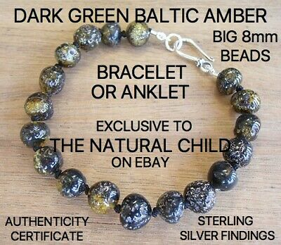GENUINE BALTIC AMBER ADULT BRACELET DARK GREEN Jewellery Beads FREE POST