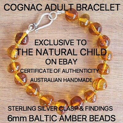 "EXCLUSIVE GENUINE BALTIC AMBER ""COGNAC"" ADULT BRACELET Jewellery Beads FREE POST"