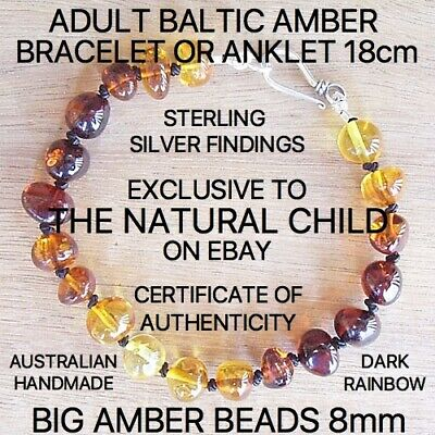 "GENUINE BALTIC AMBER ADULT BRACELET ""DARK RAINBOW"" Jewellery Beads FREE POST"