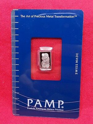 1 gram Pamp Suisse 999.5 Platinum Bar In Assay LOW SERIAL # B002664