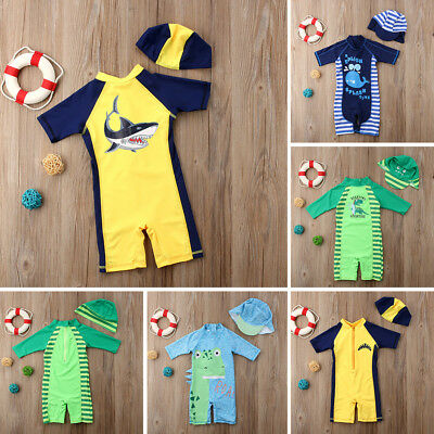 2018 New Baby Kid Boy Sun Protective Swimwear Rash Guard Costume Bathing Suit US