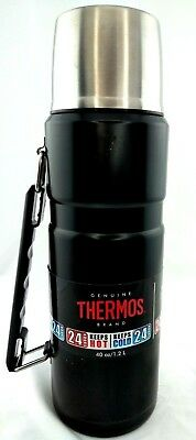 THERMOS 40 oz WIDE MOUTH FOOD or BEVERAGE VACUUM INSULATED BOTTLE Hot/Cold 24 hr