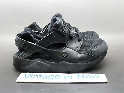 Nike Air Huarache Run Triple Black Running Shoes PS 2017 sz 1.5Y
