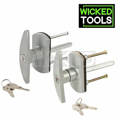 Replacement Garage Door Lock T Handle Square or Diamond 75mm Spindle Alignment