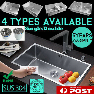 Kitchen Single/Double Sink Bowl Stainless Steel Handmade Under/Topmount Drainer
