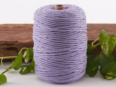 4mm purple macrame rope coloured 3ply cotton cord string strand twisted natural